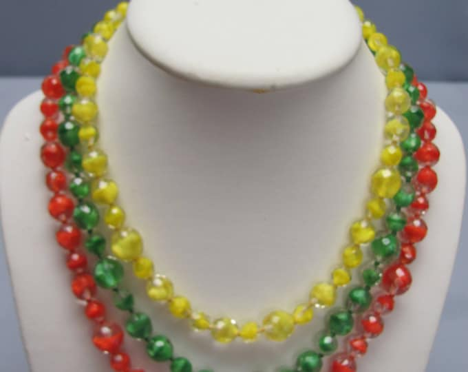 Citrus Colored 30s Glass Necklace For Spring & Summer Fashion For Garden Parties, Weddings Or Beach Wear