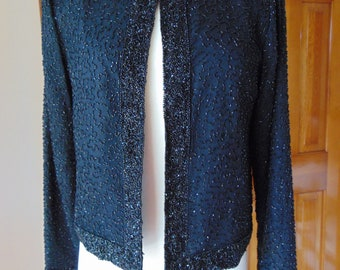 Beaded Black Jacket For Weddings- Holidays-Concerts-Operas-Theater-Gallery Opening-Western Jacket-Boots & Jean Jacket-Resort Wear-Show Girls