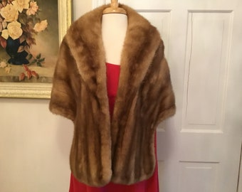 Brown Mink Fur Stole For Operas, Church, Theater, Holidays, Dinners, Parties, Dances, Charity Balls, Gallery Openings, Art Shows, Cocktails