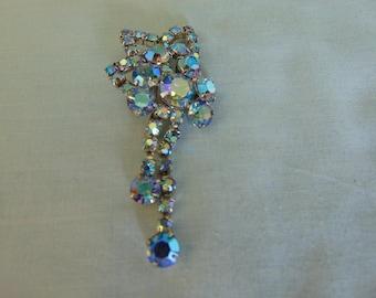 50's Aurora Borelias Rhinestone Brooch Perfect For Parties, Weddings, Graduations, Traveling, Western Dancing, Equestrian Jewelry