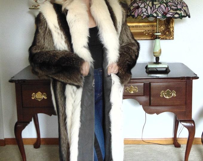Badger-Fox-Raccon Fur Coat Full Length-Mens Full Length Fur Coat-Ladies Fur Coats-Raccon Fur Coat-Badger Fur Coat-Coyote Fur -Med. Sz. Furs