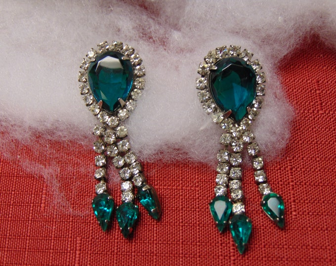 Rhinestone-Emerald Earrings for Weddings, Western Dances, Chairty Balls, Patio Parties, Cruises, Theater, Rodeos, Dinners, Musicals, Galas