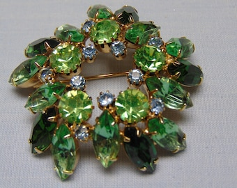 50's Vintage  Green Marquee Brooch For Easter, Mother' s Day, Traveling, Western Dance, Rodeos, Holidays, Weddings, Proms
