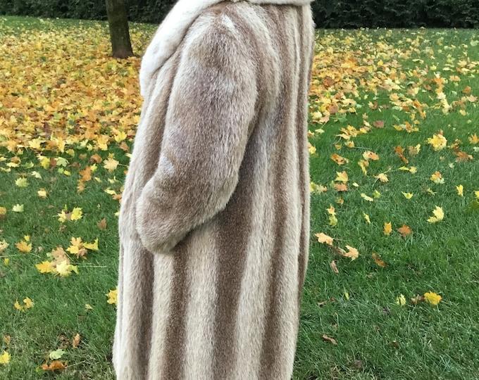 Full Length Nutria Fur With Fox Collar-Unisex Full Length Fur Coat-Ladies Full Length Lt. Brown Fur Coat-Canadian Fur Full Length Coat Brown