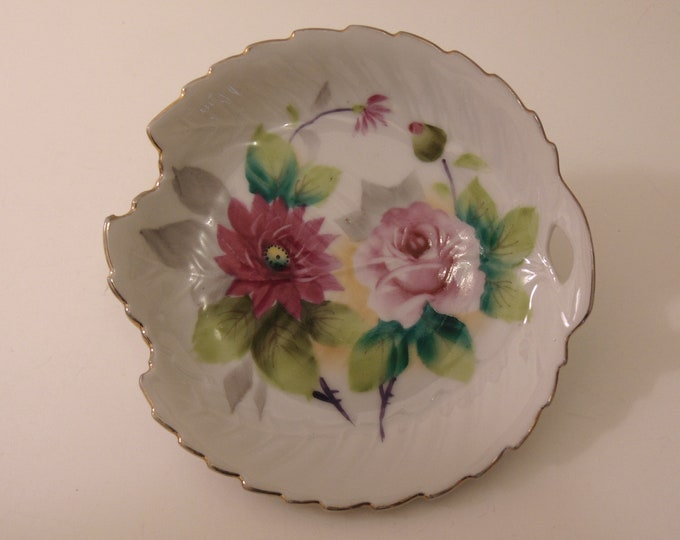 Hand Painted Japan Rose Candy Dish For House Warming Gift, Holiday Tables, Mothers Day Gift, Home Decor, Hostess Serving Dish, Veggie Dish