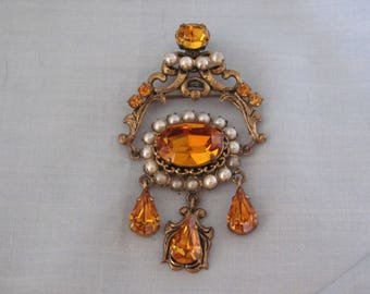 Vintage Topaz Brooch Signed Made In West Germany For Weddings, Graduations, Traveling, Dinner Parties and More