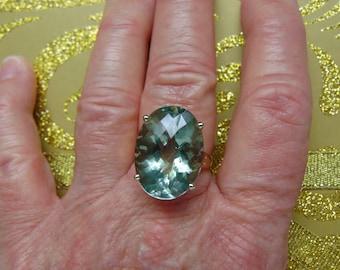 14KtYg Ring Green Amethyst-Prasiolite Ring-Amethyst Engagement Ring-Amethyst Wedding Ring-Opera Amethyst Ring-Amethyst Ring Gift-Amethysts