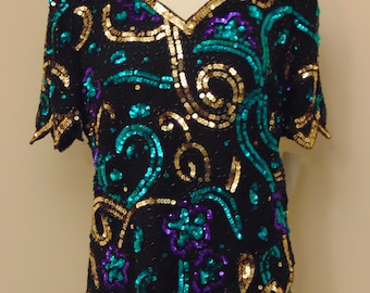 80s Sequin Top For Parties-Dinners-Theater-Cruises-Holidays-Art Shows-Gallery Openings-Derbies-Rodeos-Cocktails-Ball Room Dancing-Weddings