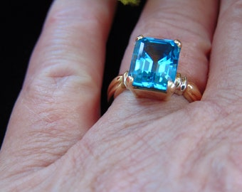 Blue Topaz Ring For Birthdays-Engagements-Weddings-Christmas Gifts-Promise Rings-Operas-Theater-Musicals-Western Dances-Gallery Shows-Church