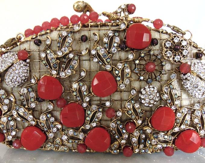 Edidi Gemstone Crystal Red Beaded Purse For Weddings, Operas, Theater, Musicals, Church, Holidays,Traveling-Edidi Purse-Wendy Lau Purse-