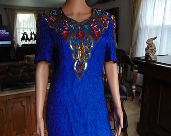 Blue And Gold Sequin Silk 80's Dress  Size PL  For Proms, Weddings, Rodeos, Entertainers, Show Girls, Dinners, Graduation, Traveling, Dances