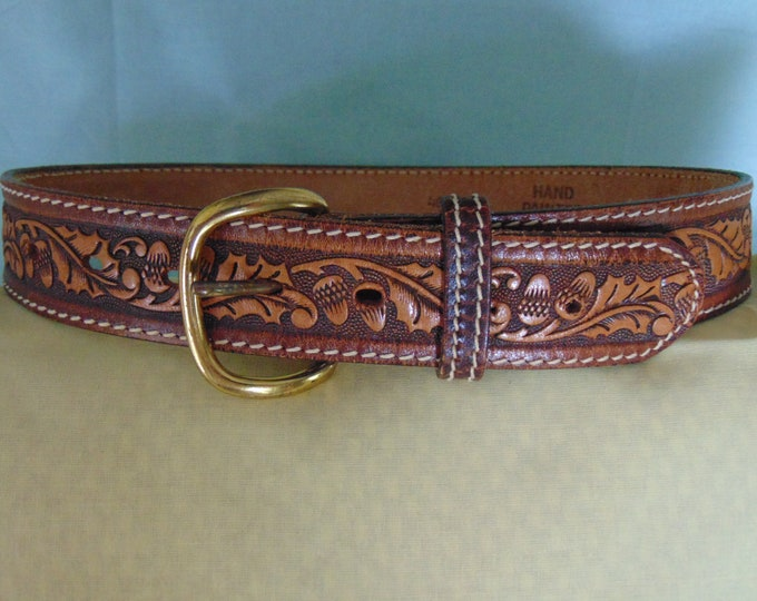 Hand Tooled Leather Belt For Western Dances, Equestrian, Rodeos, Derbies, Country Music Concerts, Boots And Jeans, Gallery Showings, Travel