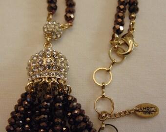AMRITA SINGH Tassel Necklace-Crystal Tassel Necklace- Beaded Tassel Necklace-Tassel Necklace For Opera-Weddings-Theater-Derbys-Musicals-Arts