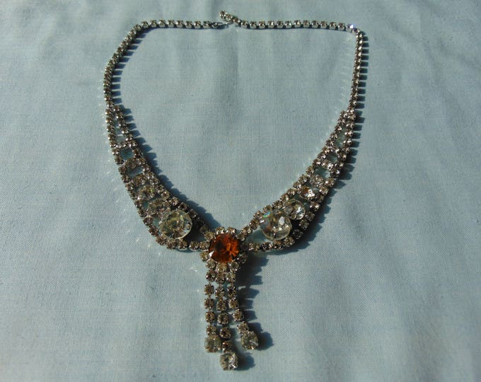 50's Vintage Rhinestone Necklace For Western Dancing, Horse Shows, Proms, Weddings, Holidays, Cruises, Entertainers, And Show Girls