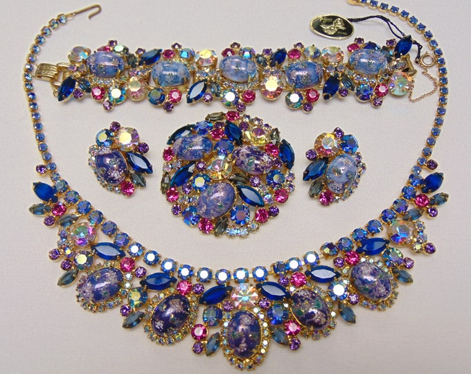 Juliana Easter Egg Parure-DeLizza&Elster Jewelry- 50's Rhinestone Jewelry For Weddings-Operas-Gallery Openings-Musicals-Theater-Entertainers