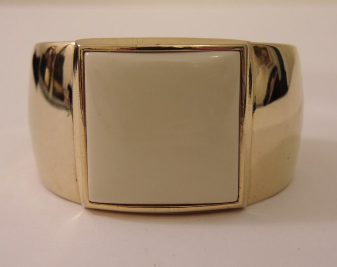 S.M.Kent 1977 Kent Collection Faux Ivory Gold Tone Cuff Bracelet For Business, Church, Dinners, Art Shows, Gallery Openings, Luncheons