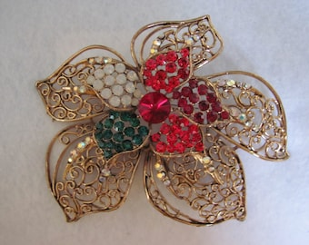 """Poinsettia Brooch 70's 4"""" Signed JANUS Perfect For Winter Fashion, Christmas Parties, Holidays, Charity Ball, And Heart Balls"""