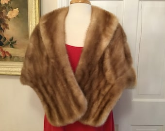 Autumn Haze Mink Fur Stole For Church, Operas, Gallery Openings, Dinners, Holidays, Cocktail Party, Theater, Ball Room Dancing, Charity Ball