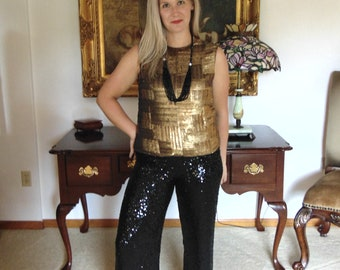 Bill Blass 80s Black Sequin Pants Size 8 & Gold Sequin Top Size 10-Sequin Separates-80s Sequin Clothes-Wedding Fashions-Gallery OpeningSuit
