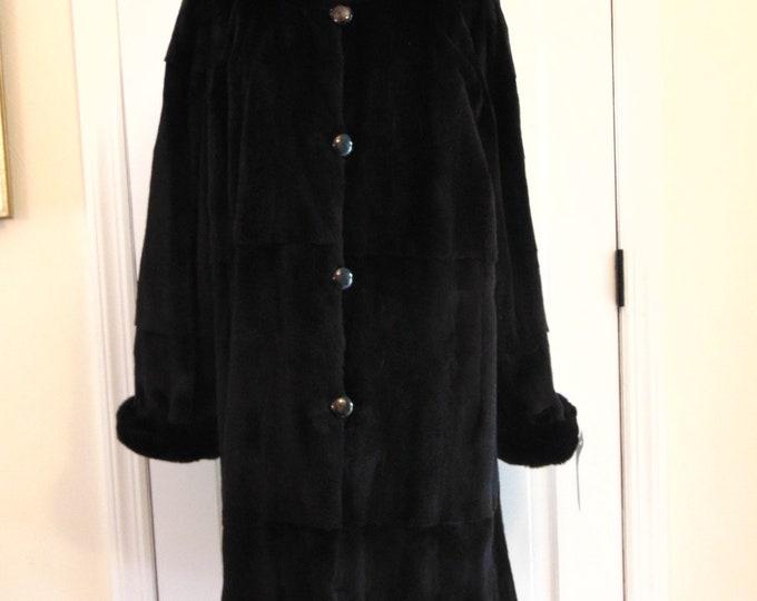 Reversible Black Plucked Mink Coat With A Detachable Hood-Plucked Black Mink- Ladies Mink-Reversible Mink -Mink