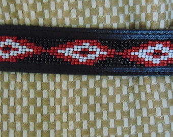 Vintage Beaded Hand Tooled Leather Belt For Western Dances, Rodeos, Equestrian, Santa Fe Fashion, Western Accessory, Native American Fests