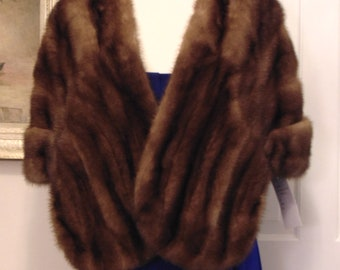 Vintage Brown Mink Stole-Mink Stole-Mink Stole For Traveling,Church,Dinners,Country Club,Business Luncheons,Valentines Gifts,Opera,Art Shows