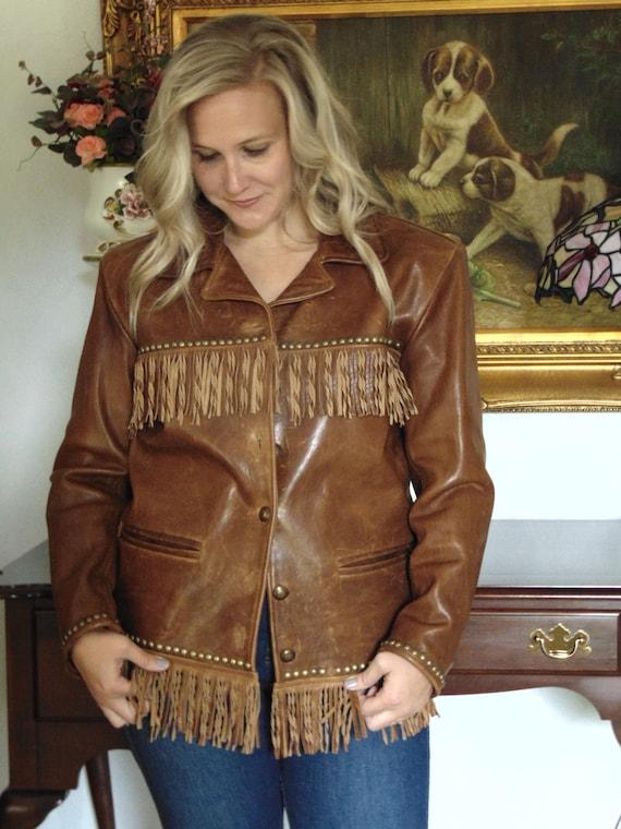 Double D Ranch Wear Leather Fringe Jacket XS-Ladie