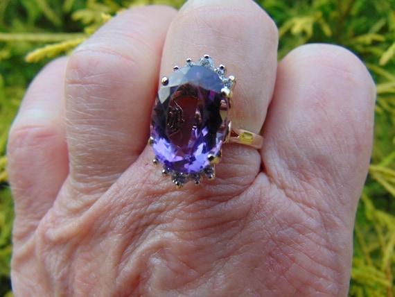 Diamond Amethyst Ring-14KtYg Amethyst Ring-Februar