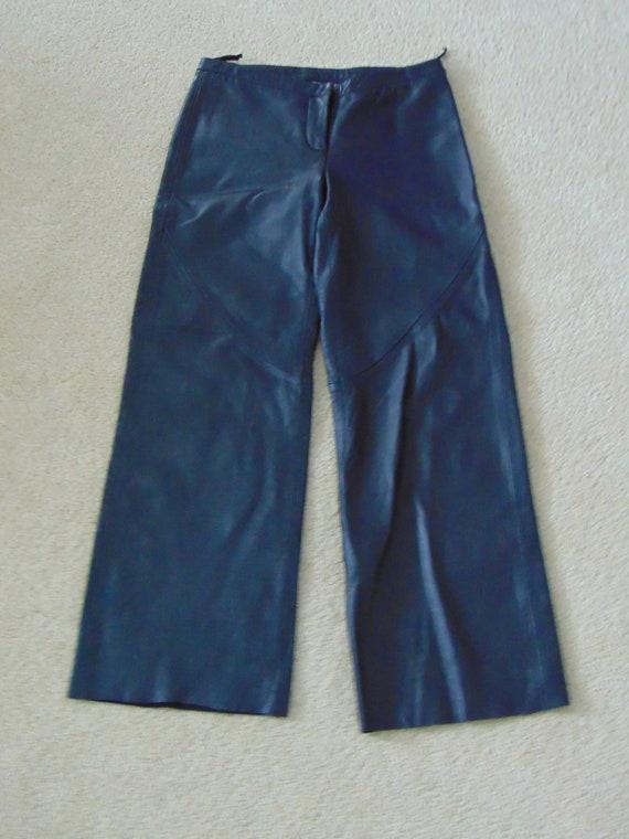 Sz 5 Ladies Black Leather Pants-Ladies Biker Pants