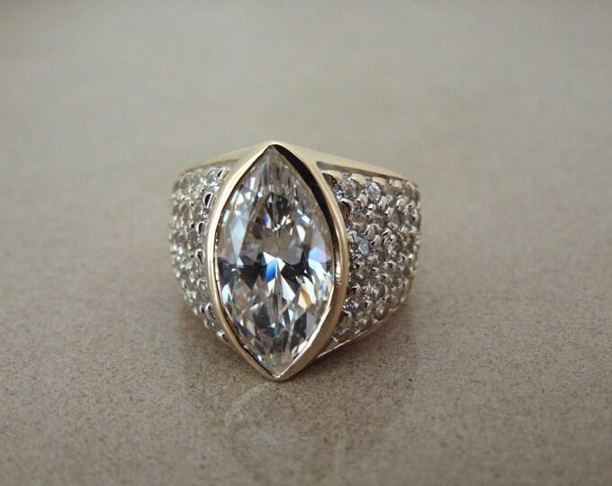 14Kt CZ Marquee Ring-14Kt Diamonique Ring-CZ Cocktail Ring 14Kt-CZ Dinner Ring 14kt-14Kt Diamonique Engagement Ring-Estate Dinner Ring-Rings