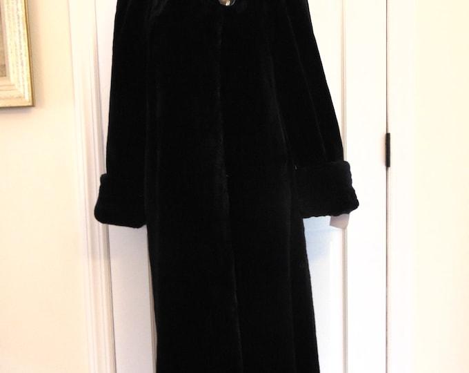 Black Sheared Beaver Fur Coat-Full Length Beaver Fur Coat-Real Fur Coat-Luxury Fur Coats-Sheared Beaver Coat-Beaver Jacket-Beaver Parka-Furs