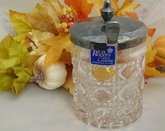 Rogers Silver Co. Crystal Jam Jar, Vintage Crystal Jelly Jar, Western Germany Lead Crystal Jelly Jar, Holiday Crystal Tableware, Relish Jar
