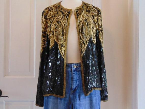 Sequin Jacket,Sequin Shrug, Sequin Coat, 80s Sequi