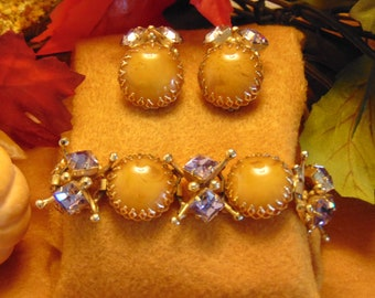 50s Bracelet Earring Set For Fall Fashion, Western Dance , Fall Holiday Jewelry, Rodeos, Business Luncheon Jewelry, Vintage Jewelry Set