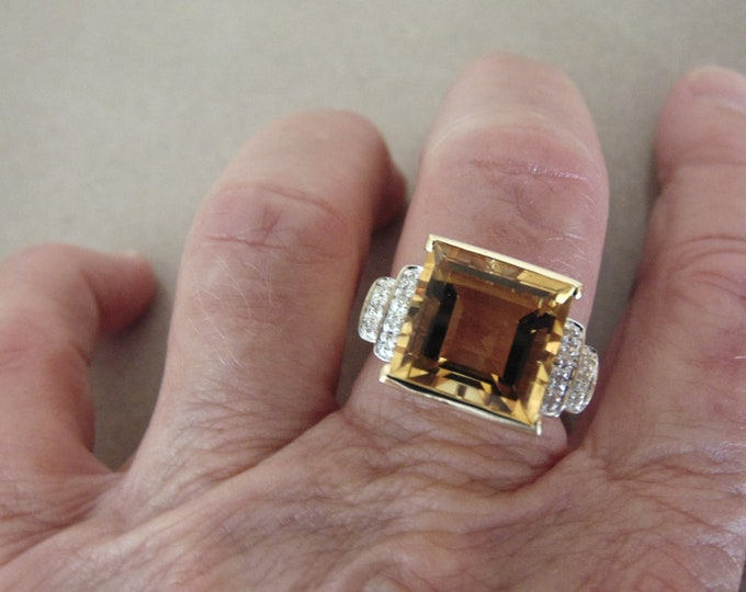 Natural Square Citrine Ring Bordered with Diamonds-Citrine Dinner Ring-Citrine Diamond Ring-Citrine Engagement Ring-Gold Topaz Citrine Ring