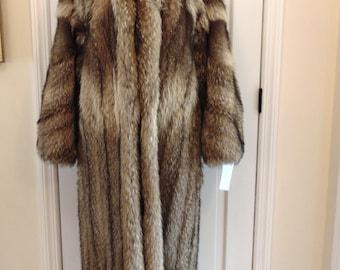 Raccoon Fur Coat-Tanuki Fur Coat-Full Length Raccoon Fur Coat-Fur Coat Gifts-Raccoon Fur Jackets-Resort Fur Coats-Furs For Xmas Gifts-Furs