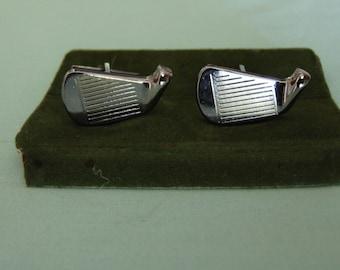 Mens Cufflinks-Silver Cufflinks-Golf Gifts Cufflinks-Unisex Cufflinks-Mens Jewelry-Monogramed Mens Cufflinks-Mens Silver Golf Cufflinks