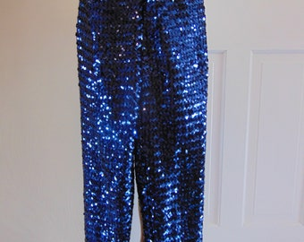 80s Blue Sequin Pants For Rodeos,Western Dancing,Entertaining,Horse Shows,Cruises,Holidays,Weddings,Gallery Openings,Operas,Dinner Parties