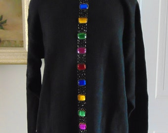 80's Multi Jeweled Sweater For Parties,Holidays,Dinners,Cocktails,Art- Antique Shows,Dances,Resort Wear, Skiing, Ice Skating,Church,Rodeos