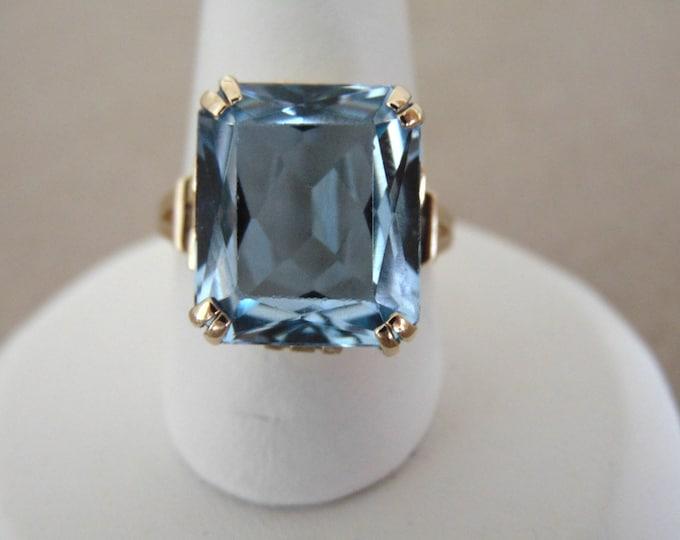 Vintage Natural Blue Spinel Ring-Antique Blue Spinel Ring-