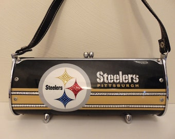 Steelers License Plate Purse By Little Earth-NFL Purse-Steelers Crystal Purse For NFL Games,Football Lovers, Steelers Fans,Gift For Steelers