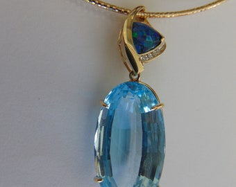 Blue Topaz Necklace For Operas-Theater-Showgirls-Gallery Openings-Derbies-Holidays-Chairty Balls-Ballroom Dances-Western Dances-Topaz Gifts