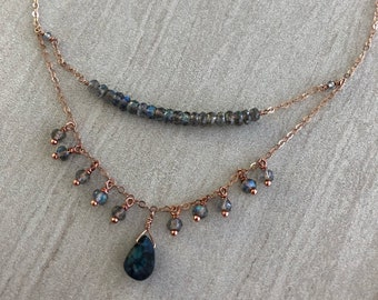 Rose Gold and Labradorite Chandelier Necklace