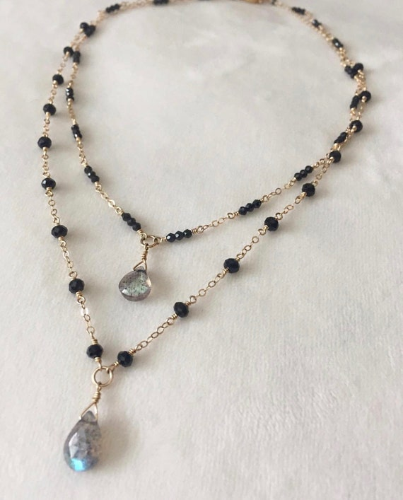 50.00 Cts Natural Labradorite /& Black Spinel Faceted Beads Necklace NK 14E60
