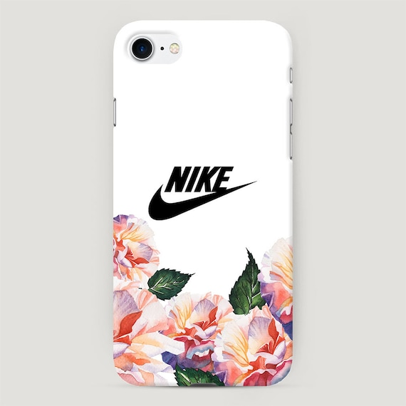 White Nike Phone Case, Flowers iPhone 8 Plus Case, Cute Phone Cover, Nike  Case for iPhone XS Max