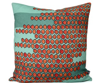 100% linen cushion cover - orange and green - 18 x 18 - abstract throw pillow case - 45cm x 45cm - accent pillow - decorative pillow