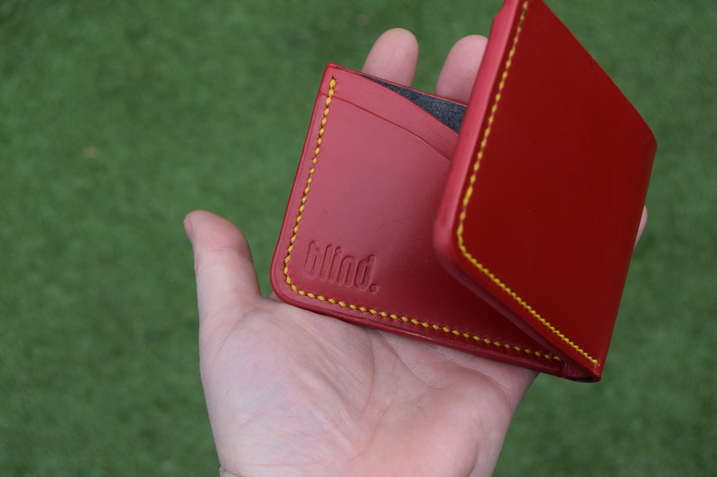 Red Bridle Leather Wallet  Bifold  Hand Stitched image 0