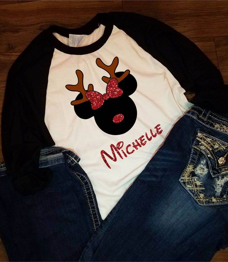 8a6a6ab804495 Personalized Disney Christmas Minnie Mickey Reindeer Holiday   Etsy