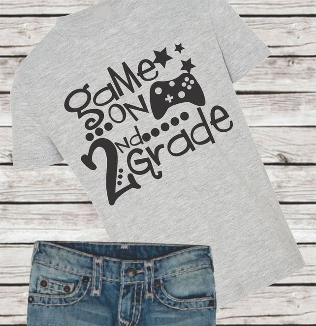 2nd Second Grade Game On First Back To School Boy T Shirt Tee Etsy