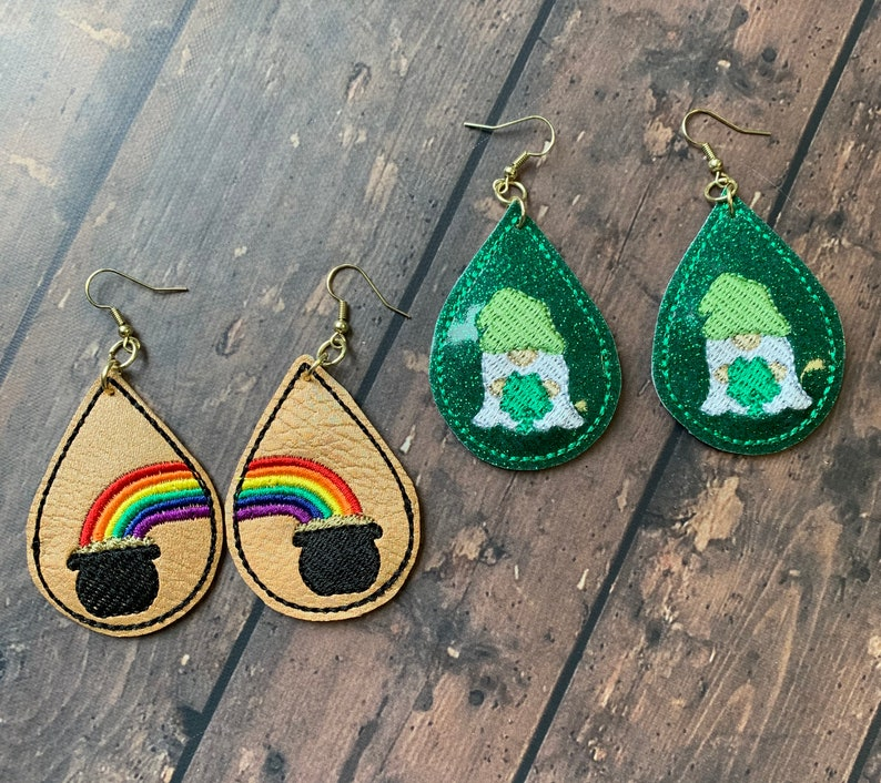 St Patricks Day Earrings Luck Of the Irish Vegan Leather 1 Set of each style
